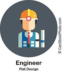 plat, ingénieur, icône