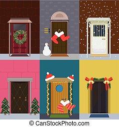 plat, ingang, set, kerstmis, deuren