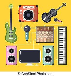plat, instrumenten, gele, opname, achtergrond., vector, ontwerp, artikelen & hulpmiddelen, thuis, muzikalisch, studio.