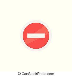 plat, interdire, isolé, signe, vecteur, fond, blanc, icône, rouges, design.