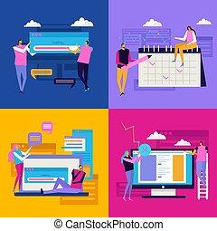 plat, interface, conception, concept
