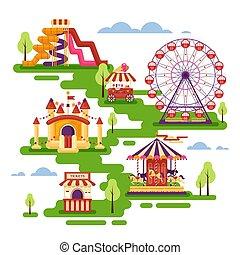 plat, invitational, ensemble, roue, famille, ferris, mobile, attractions, gonflable, trampoline, parc, sweets., carrousels, banners., éléments, waterslides, kiosque, ballons, cartes, amusement, château