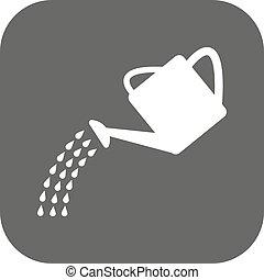 plat, irrigation, arrosage, symbole., boîte, icon.