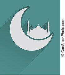 plat, islamitisch, pictogram, moskee, maan