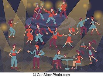 plat, isolé, caractères, style, retro, lumière, musiciens, set., jazz, dames, dessin animé, dancers., fond, n, illustrations, vecteur, anonyme, tache, rocher, gens colorent, rockabilly, 1950s, rouleau, messieurs