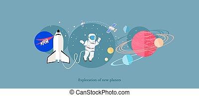 plat, isolé, exploration, planètes, nouveau, icône