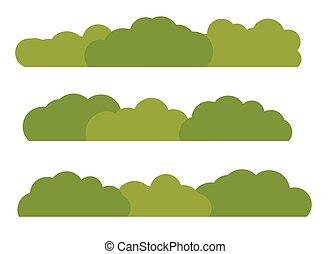 plat, isolé, illustration, arrière-plan., buisson, vecteur, blanc vert, paysage, icône