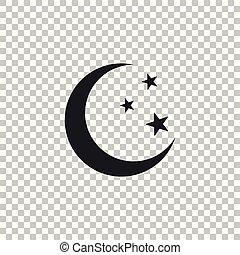 plat, isolé, illustration, lune, arrière-plan., vecteur, étoiles, icône, transparent, design.
