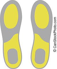 plat, isolé, insoles, chaussure, fond, blanc, icône