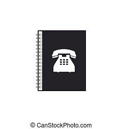 plat, isolated., adresse, téléphone, book., téléphone, vecteur, illustration, directory., icône, livre, design.
