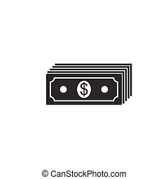 plat, isolated., geld, dollars, rekening, dollar, contant, illustratie, bankpapier, amerikaan, vector, papier, currency., icon., pictogram, stapel, design.