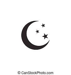 plat, isolated., illustration, lune, vecteur, étoiles, icône, design.