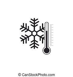 plat, isolated., illustration, vecteur, thermomètre, icône, flocon de neige, design.