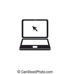 plat, isolated., ordinateur portable, illustration, curseur, vecteur, icône, design.