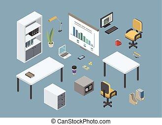 plat, isométrique, éléments, meubles, bureau, vecteur, conception, intérieur, assis, 3d
