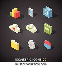 plat, isométrique, 2, ensemble, icônes
