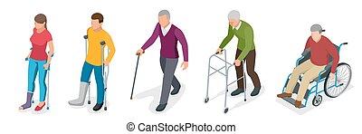 plat, isométrique, après, gyse, wheelchair., gens, jambe, jeune, illustration, rééducation, orthopédie, injury., fracture, medicine., vieux, trauma., ou, béquilles, 3d