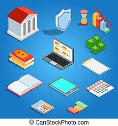 plat, isométrique, banque, mobile, concept., crédit, prêts