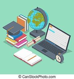 plat, isométrique, concept., école, dos, vecteur, fond, education, style, 3d
