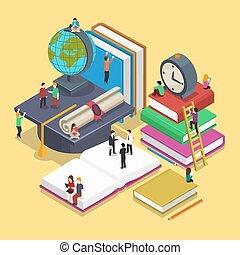 plat, isométrique, concept, école, gens, dos, remise de diplomes, vecteur, illustration, education, style., 3d