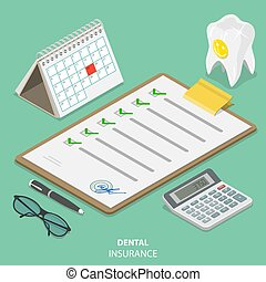 plat, isométrique, concept., assurance, vecteur, dentaire