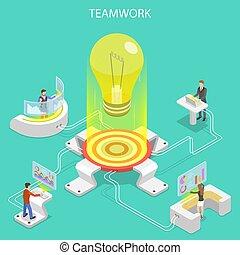 plat, isométrique, concept, business, efficace, collaboration, team., vecteur