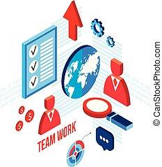 plat, isométrique, concept, business, réussi, travail, association, conception, équipe, 3d