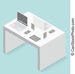 plat, isométrique, concept, gadget, vecteur, 3d
