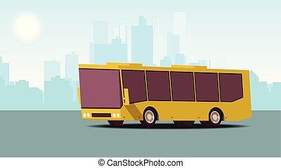 plat, isométrique, concept, illustration., transport., vecteur, public, urbain