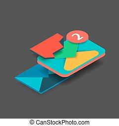plat, isométrique, concept, moderne, conception, nouveau, message, 3d