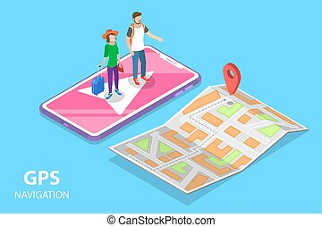 plat, isométrique, concept, navigation, ville, mobile, map., vecteur, pgs