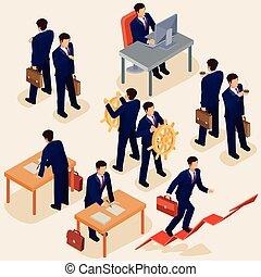 plat, isométrique, concept, plomb, business, gens., ceo.,...