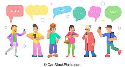 plat, isométrique, concept, réseau, bavarder, gens, vecteur, social, discussion.