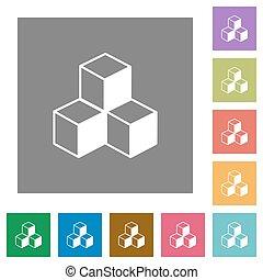 plat, isométrique, cubes, carrée, icônes