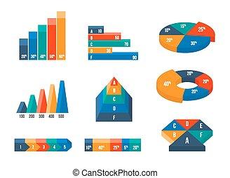 plat, isométrique, diagrammes, moderne, style, graphiques, diagrammes, 3d