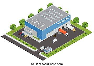 plat, isométrique, ensemble, cargaison, stockage, livraison, illustration, thème, vecteur, entrepôt, fret, goods., transportation., logistique, 3d