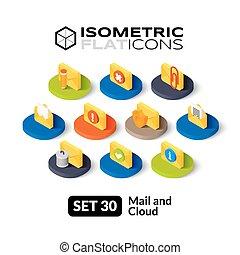 plat, isométrique, ensemble, icônes, 30
