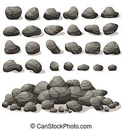 plat, isométrique, ensemble, pierre, dessin animé, rocher, style., différent