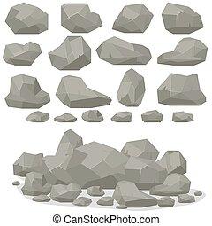 plat, isométrique, ensemble, pierre, différent, rocher, dessin animé, style., 3d