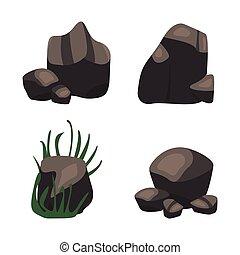 plat, isométrique, ensemble, pierre, galets, différent, rocher, dessin animé, style., 3d