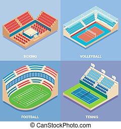 plat, isométrique, ensemble, vecteur, stade, sport, icône