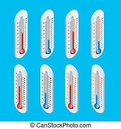 plat, isométrique, extérieur, temperature., illustration, chaud, vecteur, thermometer., froid, 3d