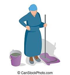 plat, isométrique, femme, vieux, elle, essuyer seau, illustration, main, cleaning., vecteur