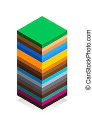 plat, isométrique, géologie, isolé, illustration, style., arrière-plan., vecteur, structure, la terre, blanc, dessin animé, scheme.