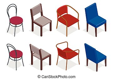plat, isométrique, illustration., chaises, collection., vecteur, chaise, café, 3d