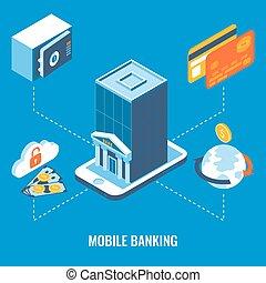plat, isométrique, mobile, illustration, banque, vecteur, 3d