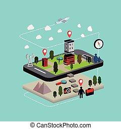plat, isométrique, mobile, illustration, navigation, 3d