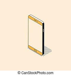 plat, isométrique, mobile, style, téléphone, textured, branché, shadow.