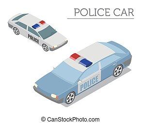plat, isométrique, propre, surveiller voiture, isolé, collection, infographic, white., 3d, ton, construire