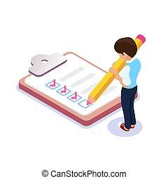 plat, isométrique, sien, checklist., notes., met, crayon, feuilles, caractère, remplissage, list., étudiant, mains, employé, tique, ou, dehors